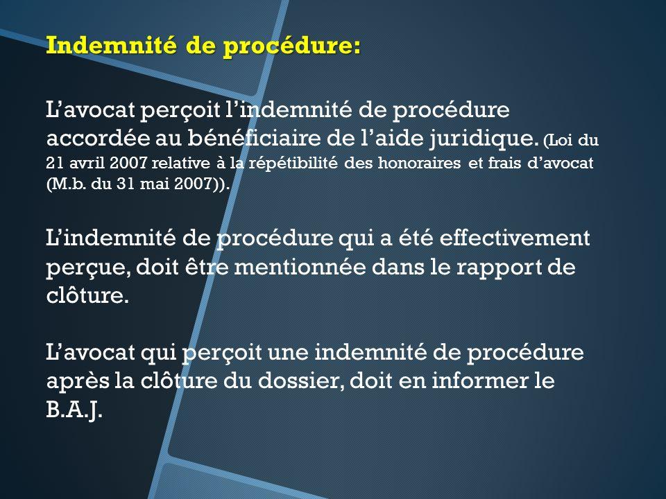 Indemnité de procédure: