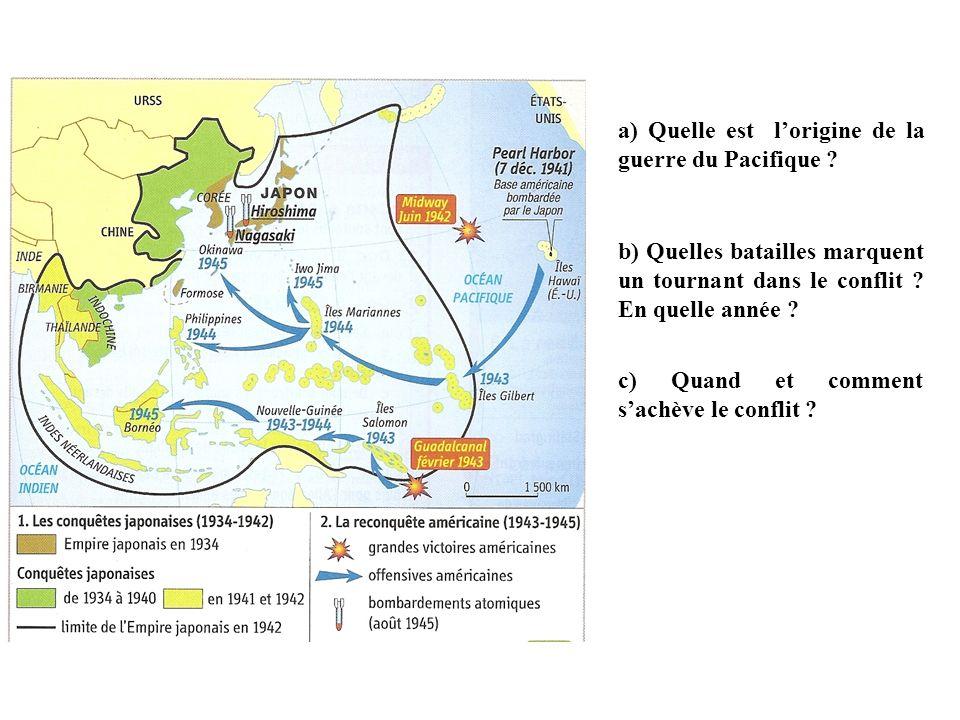 a) Quelle est l'origine de la guerre du Pacifique
