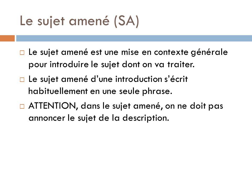Le sujet amené (SA) Le sujet amené est une mise en contexte générale pour introduire le sujet dont on va traiter.