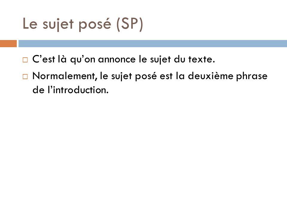 Le sujet posé (SP) C'est là qu'on annonce le sujet du texte.