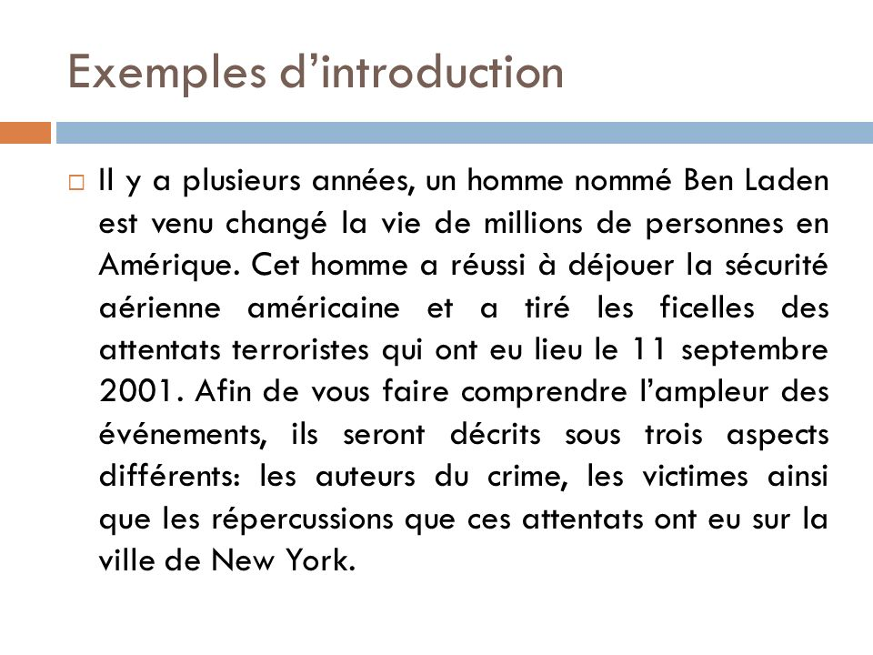 Exemples d'introduction