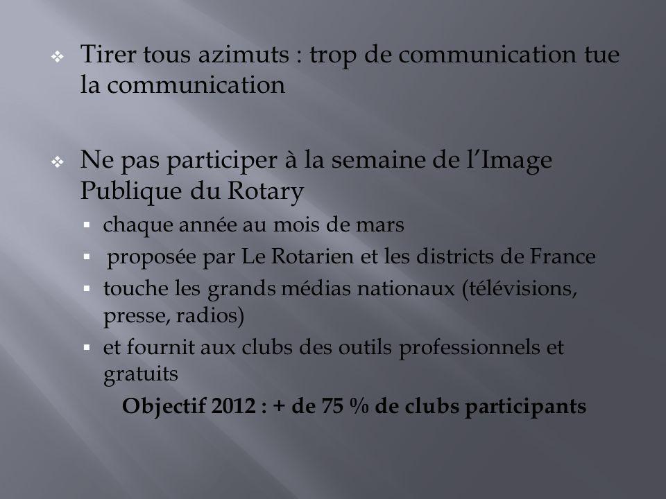 Objectif 2012 : + de 75 % de clubs participants