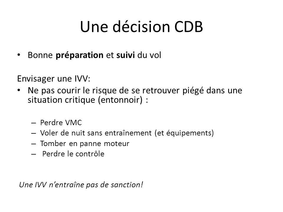 Une décision CDB Bonne préparation et suivi du vol Envisager une IVV: