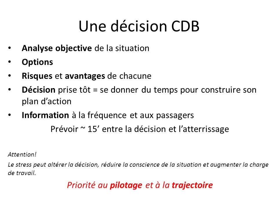 Une décision CDB Analyse objective de la situation Options
