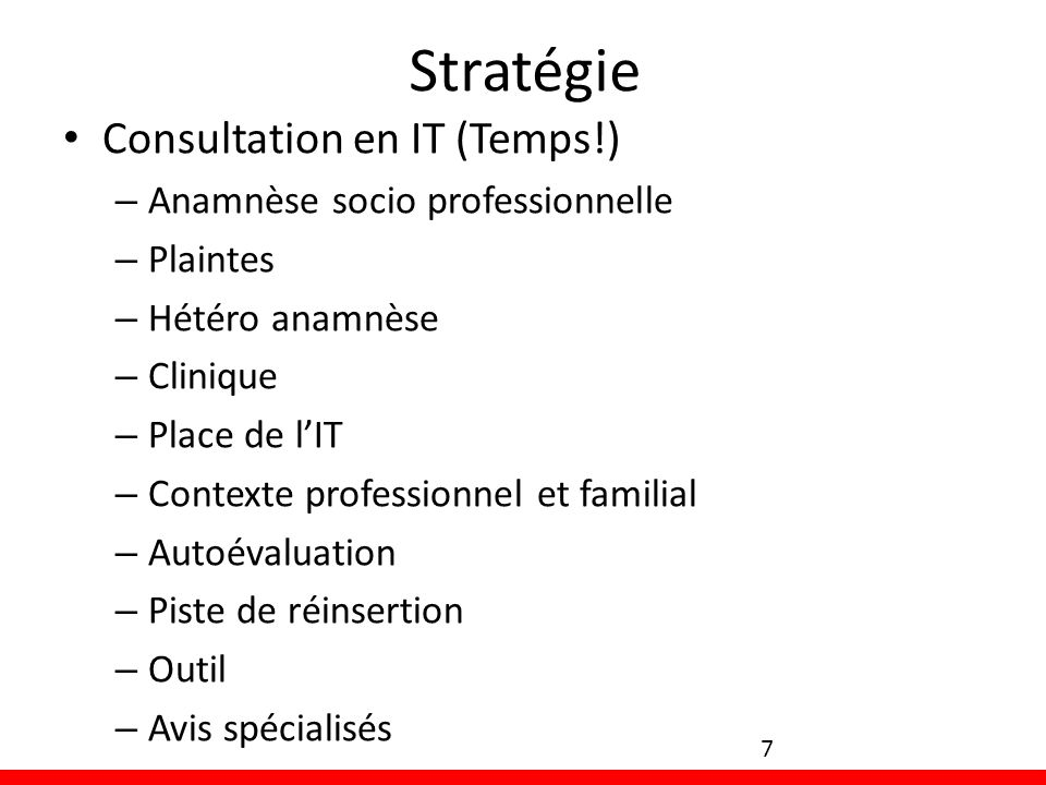 Stratégie Consultation en IT (Temps!) Anamnèse socio professionnelle