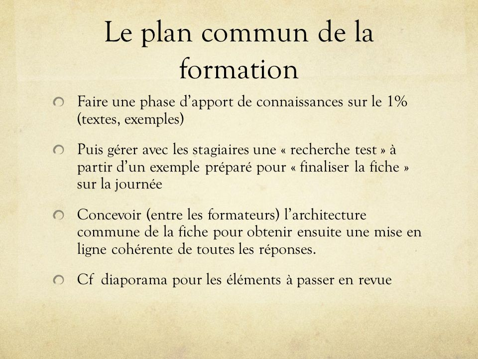 Le plan commun de la formation