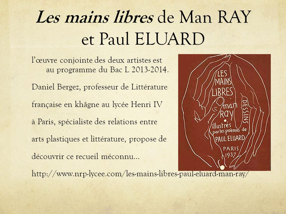 Les mains libres de Man RAY et Paul ELUARD