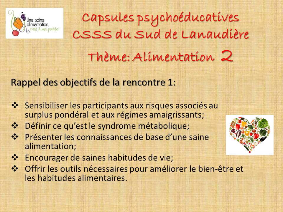 Capsules psychoéducatives CSSS du Sud de Lanaudière Thème: Alimentation 2