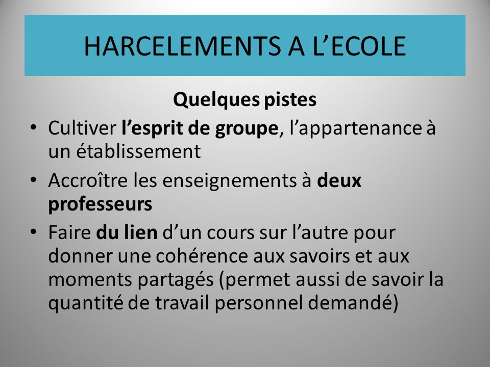 HARCELEMENTS A L'ECOLE
