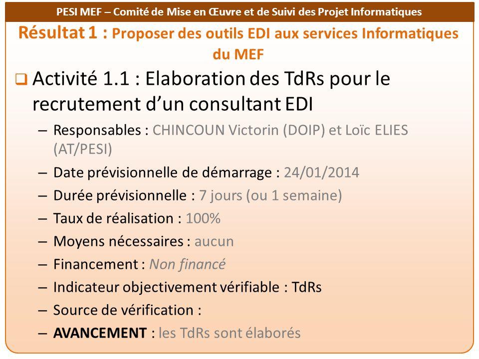 Résultat 1 : Proposer des outils EDI aux services Informatiques du MEF