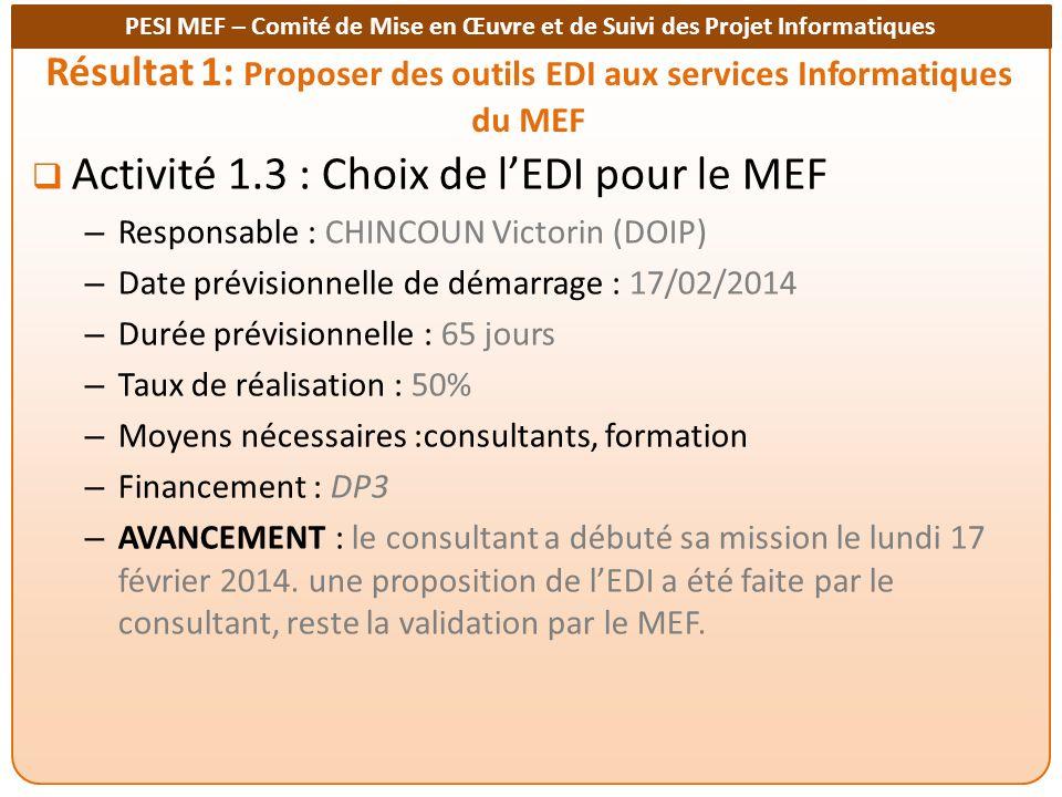 Résultat 1: Proposer des outils EDI aux services Informatiques du MEF
