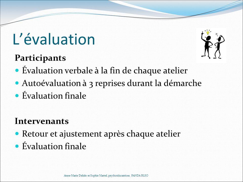 L'évaluation Participants