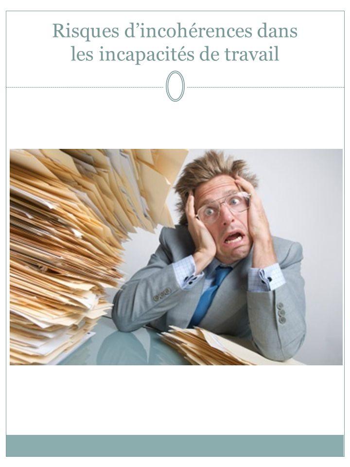 Risques d'incohérences dans les incapacités de travail