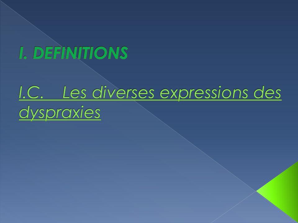 I. DEFINITIONS I.C. Les diverses expressions des dyspraxies