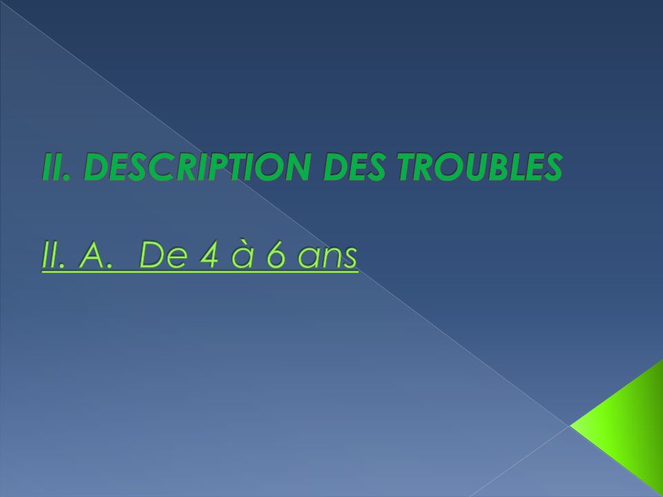 II. DESCRIPTION DES TROUBLES II. A. De 4 à 6 ans
