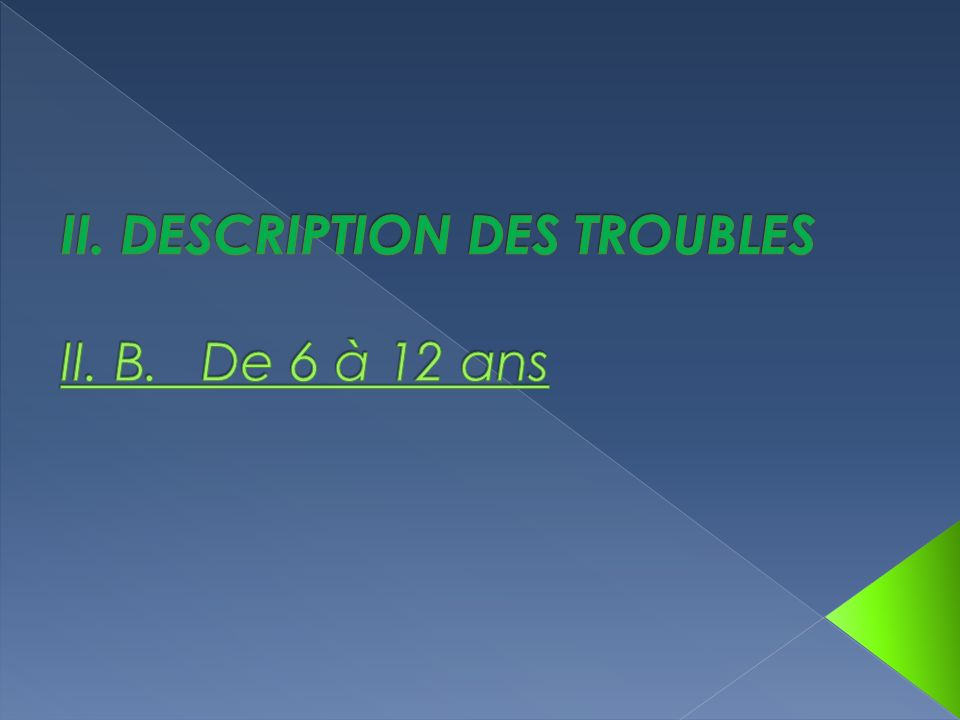 II. DESCRIPTION DES TROUBLES II. B. De 6 à 12 ans