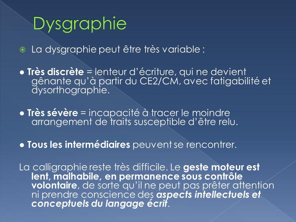 Dysgraphie La dysgraphie peut être très variable :