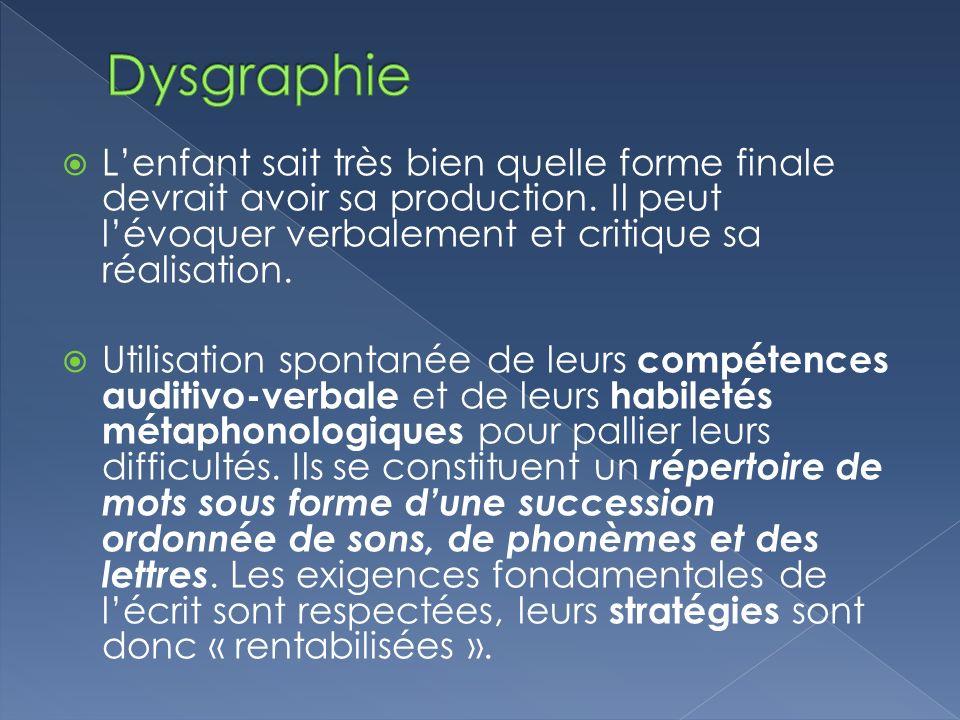 Dysgraphie L'enfant sait très bien quelle forme finale devrait avoir sa production. Il peut l'évoquer verbalement et critique sa réalisation.