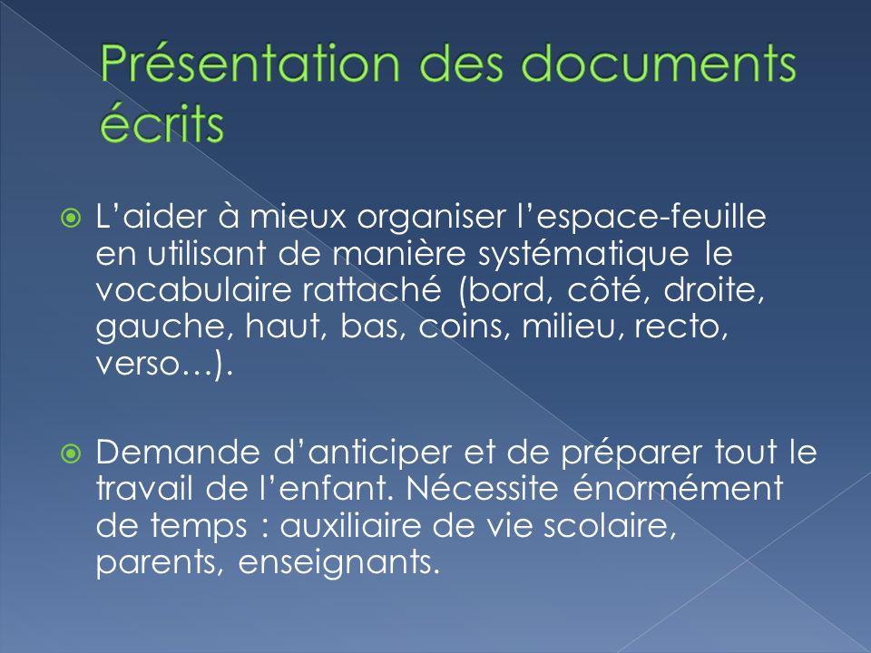 Présentation des documents écrits
