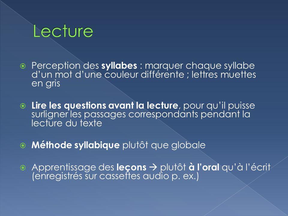 Lecture Perception des syllabes : marquer chaque syllabe d'un mot d'une couleur différente ; lettres muettes en gris.