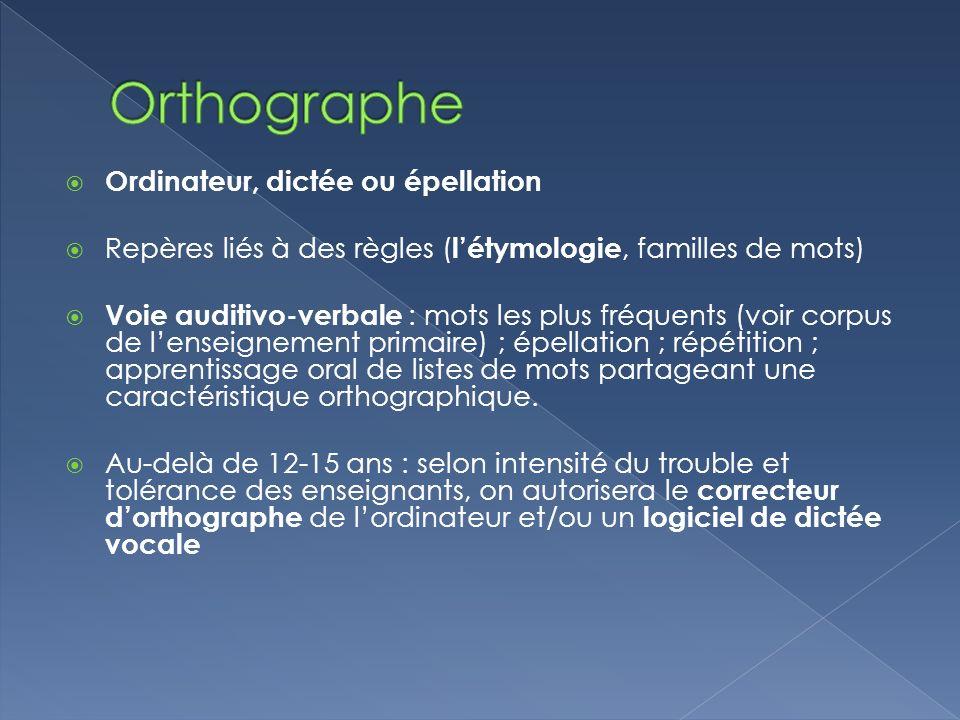 Orthographe Ordinateur, dictée ou épellation
