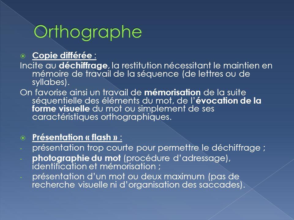 Orthographe Copie différée :