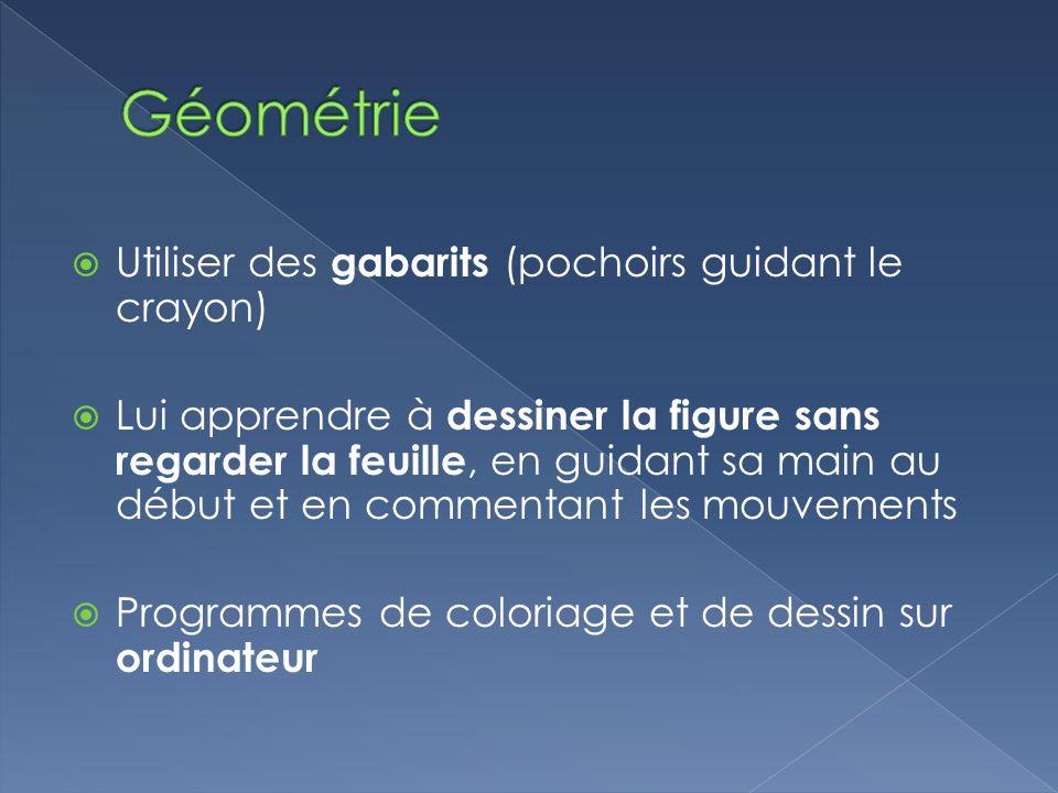 Géométrie Utiliser des gabarits (pochoirs guidant le crayon)