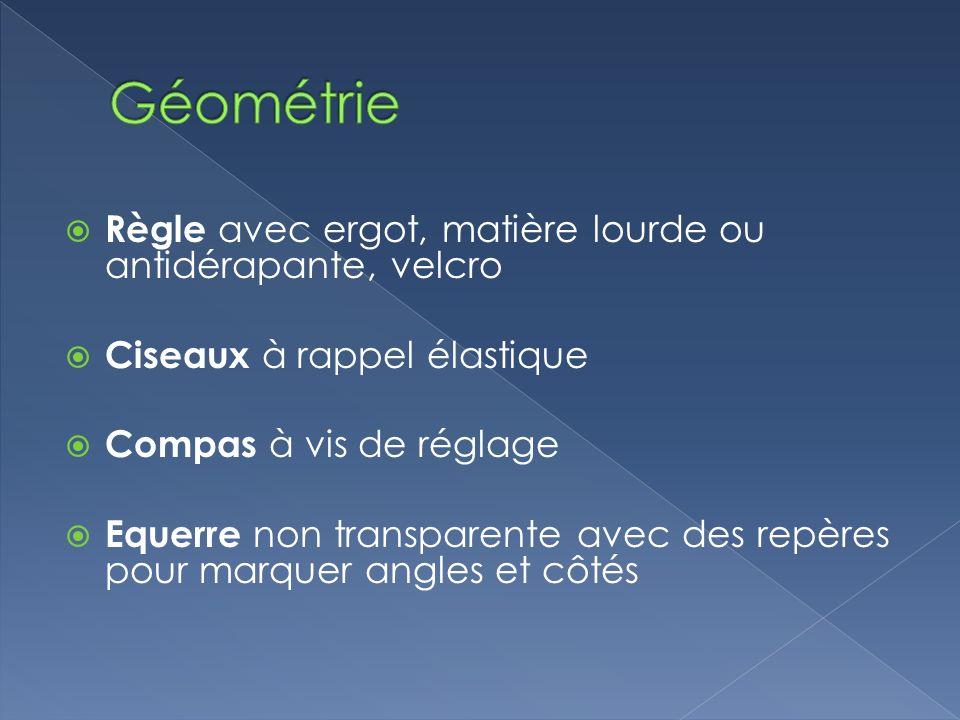 Géométrie Règle avec ergot, matière lourde ou antidérapante, velcro