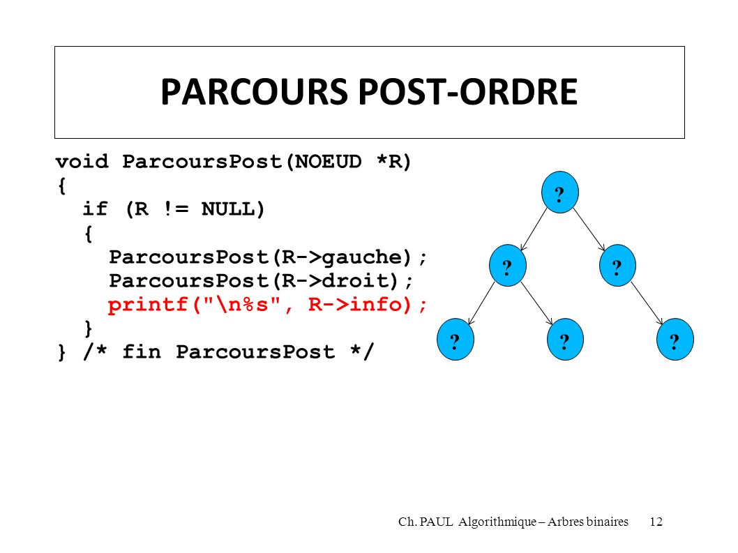 PARCOURS POST-ORDRE void ParcoursPost(NOEUD *R) { if (R != NULL)