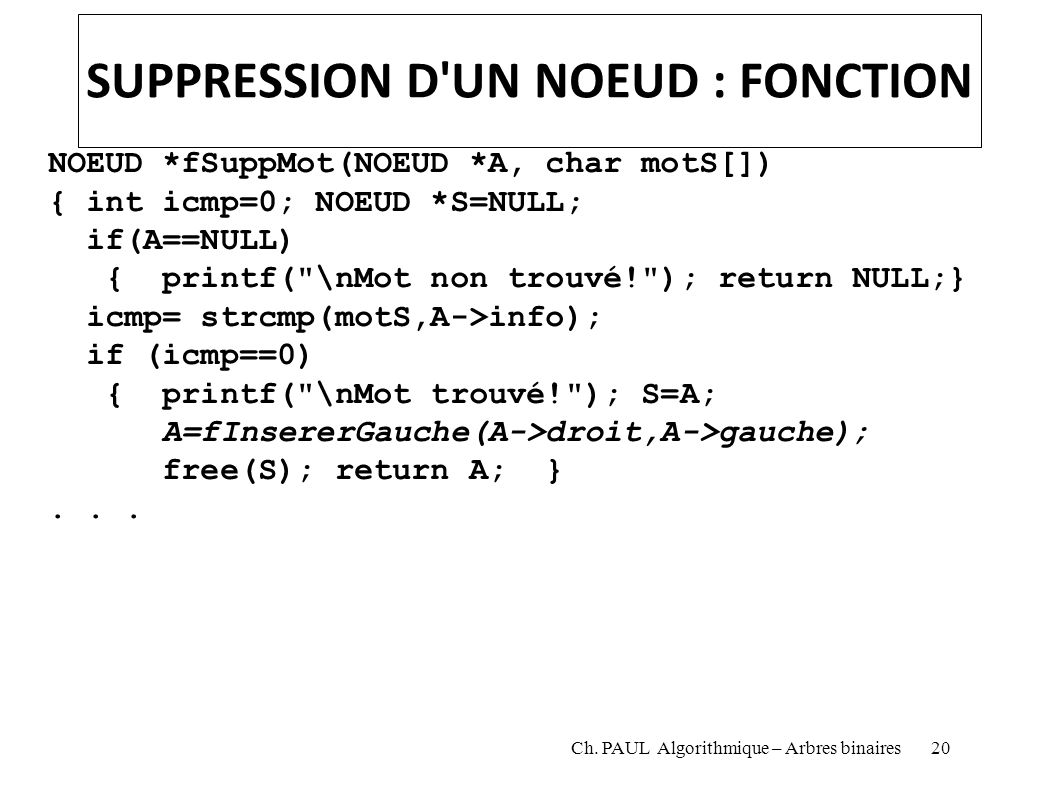 SUPPRESSION D UN NOEUD : FONCTION