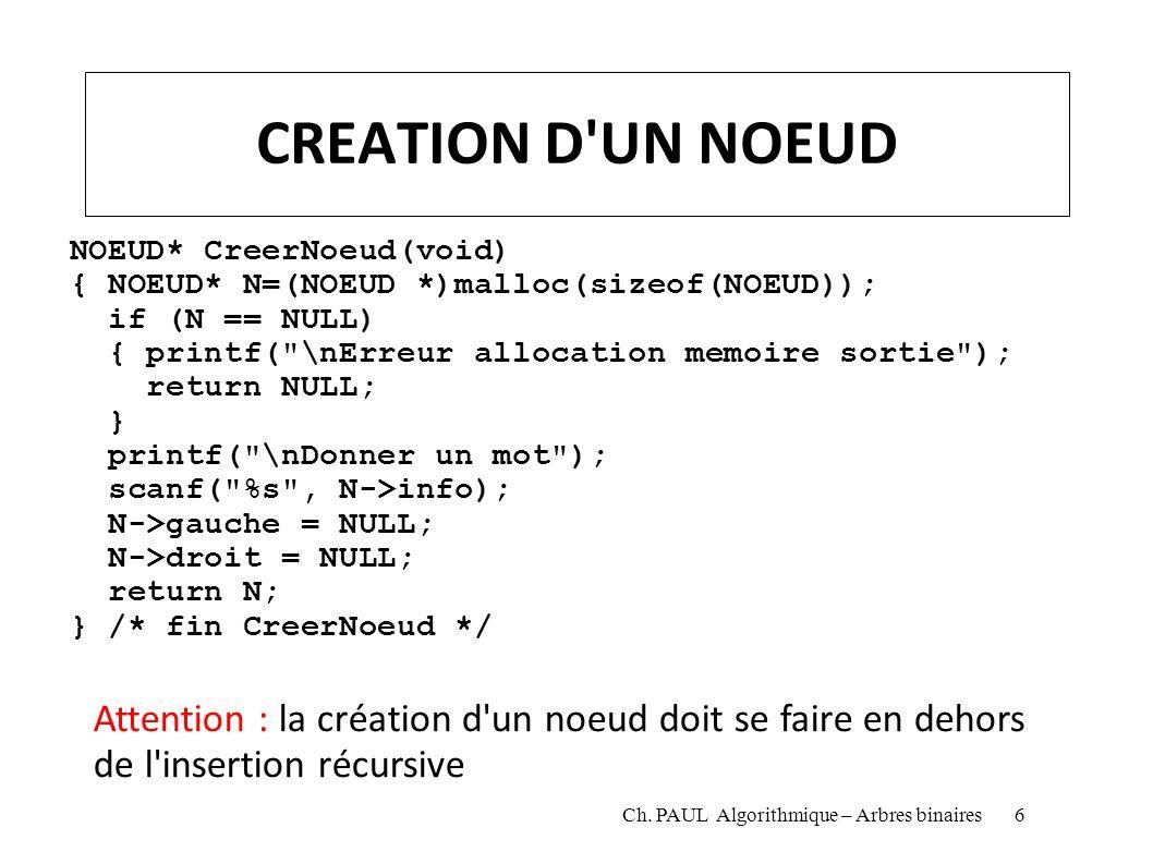 CREATION D UN NOEUD NOEUD* CreerNoeud(void) { NOEUD* N=(NOEUD *)malloc(sizeof(NOEUD)); if (N == NULL)