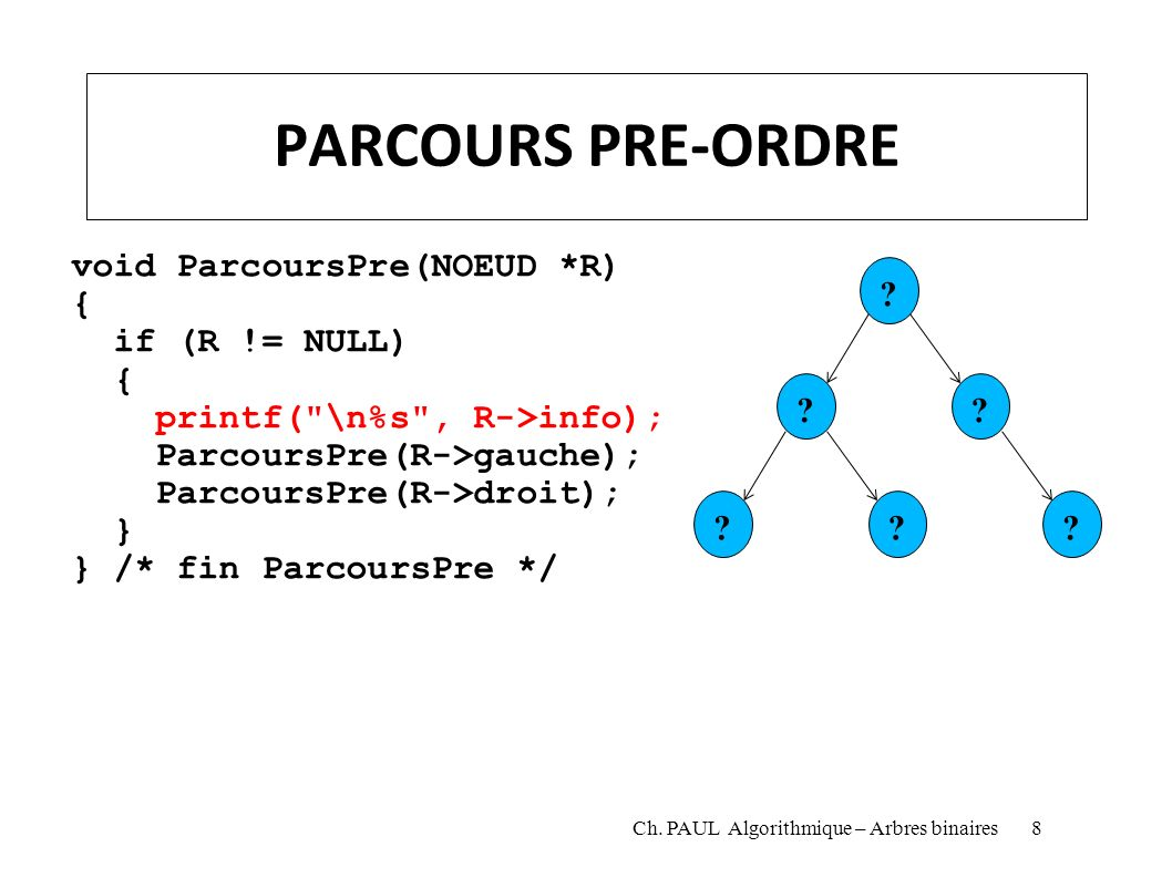 PARCOURS PRE-ORDRE void ParcoursPre(NOEUD *R) { if (R != NULL)