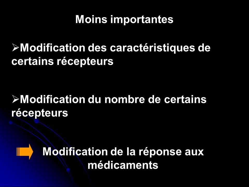 Modification de la réponse aux médicaments