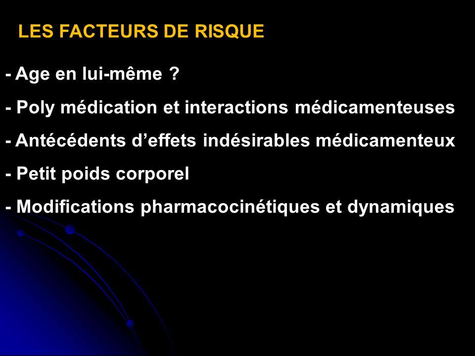 LES FACTEURS DE RISQUE - Age en lui-même - Poly médication et interactions médicamenteuses. - Antécédents d'effets indésirables médicamenteux.