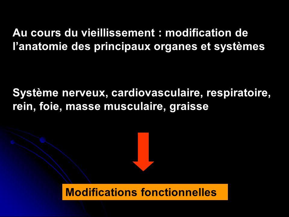 Au cours du vieillissement : modification de l'anatomie des principaux organes et systèmes
