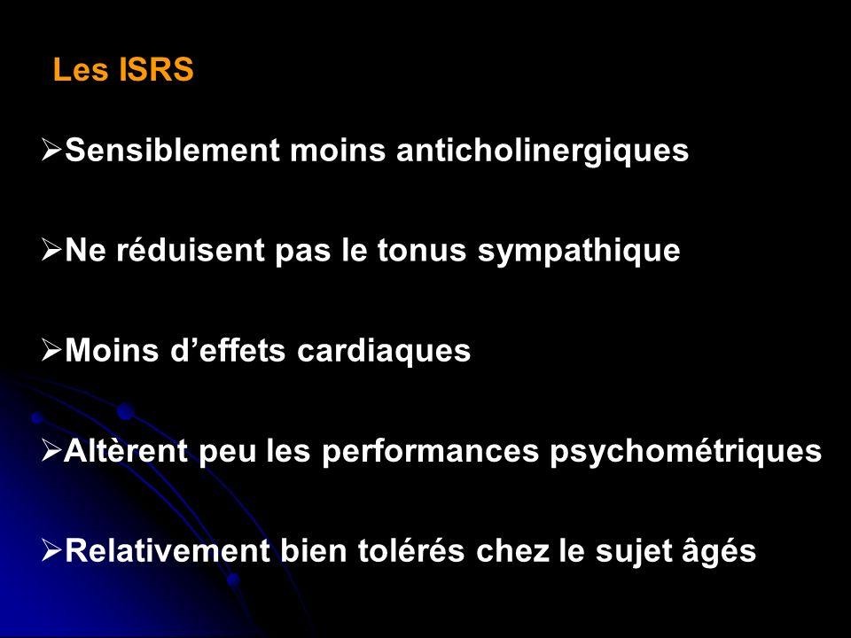 Les ISRS Sensiblement moins anticholinergiques. Ne réduisent pas le tonus sympathique. Moins d'effets cardiaques.