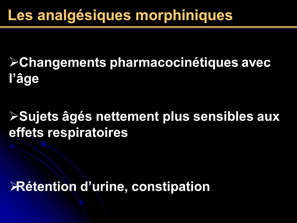 Les analgésiques morphiniques
