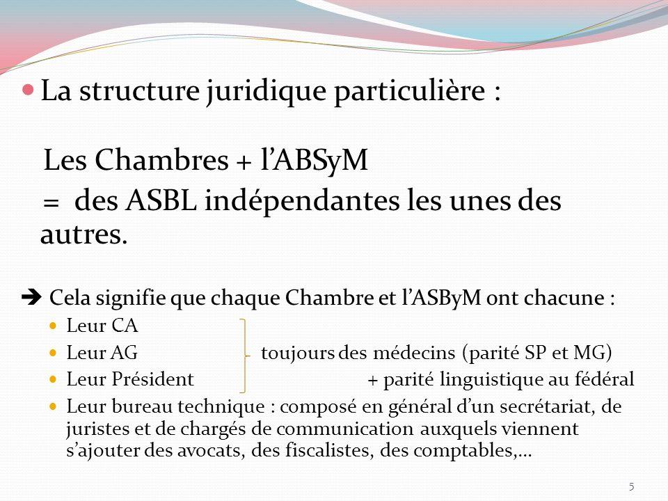 La structure juridique particulière : Les Chambres + l'ABSyM