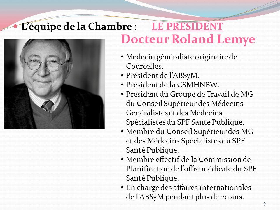 Docteur Roland Lemye L'équipe de la Chambre : LE PRESIDENT