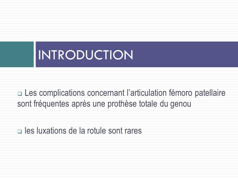 INTRODUCTION Les complications concernant l'articulation fémoro patellaire sont fréquentes après une prothèse totale du genou.