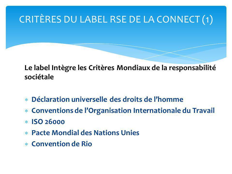 CRITÈRES DU LABEL RSE DE LA CONNECT (1)