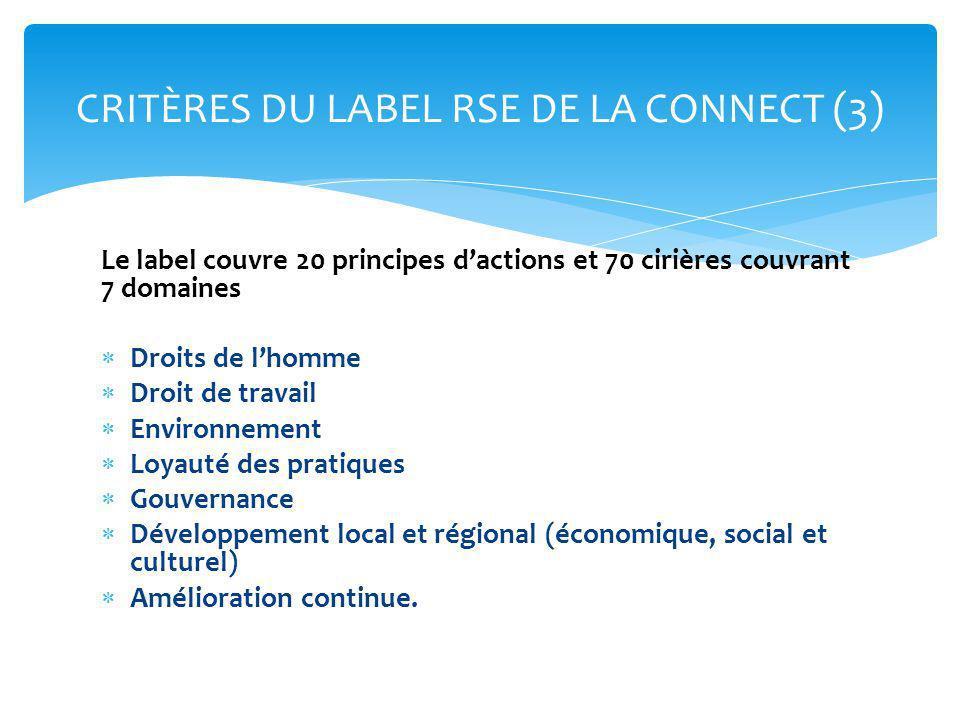 CRITÈRES DU LABEL RSE DE LA CONNECT (3)