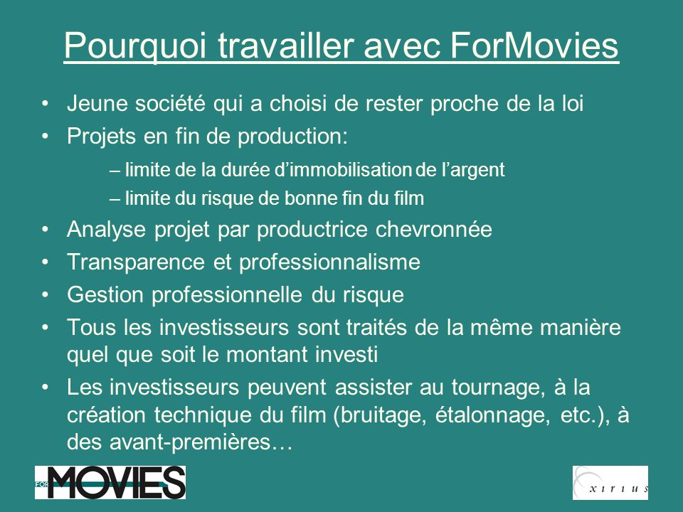 Pourquoi travailler avec ForMovies