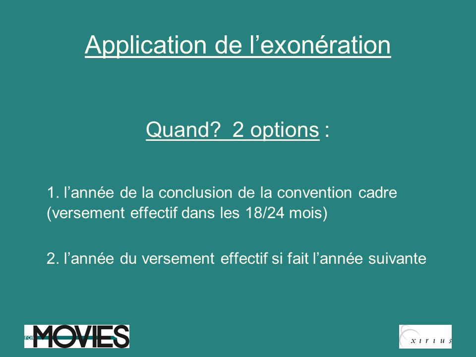 Application de l'exonération