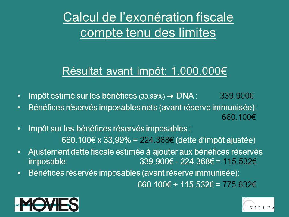 Calcul de l'exonération fiscale compte tenu des limites