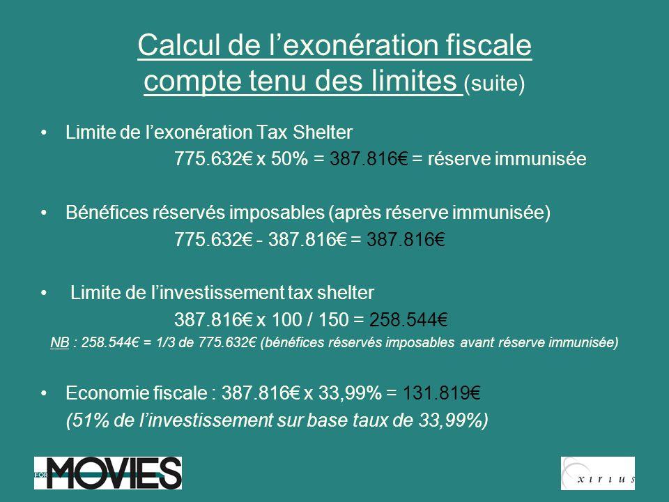 Calcul de l'exonération fiscale compte tenu des limites (suite)