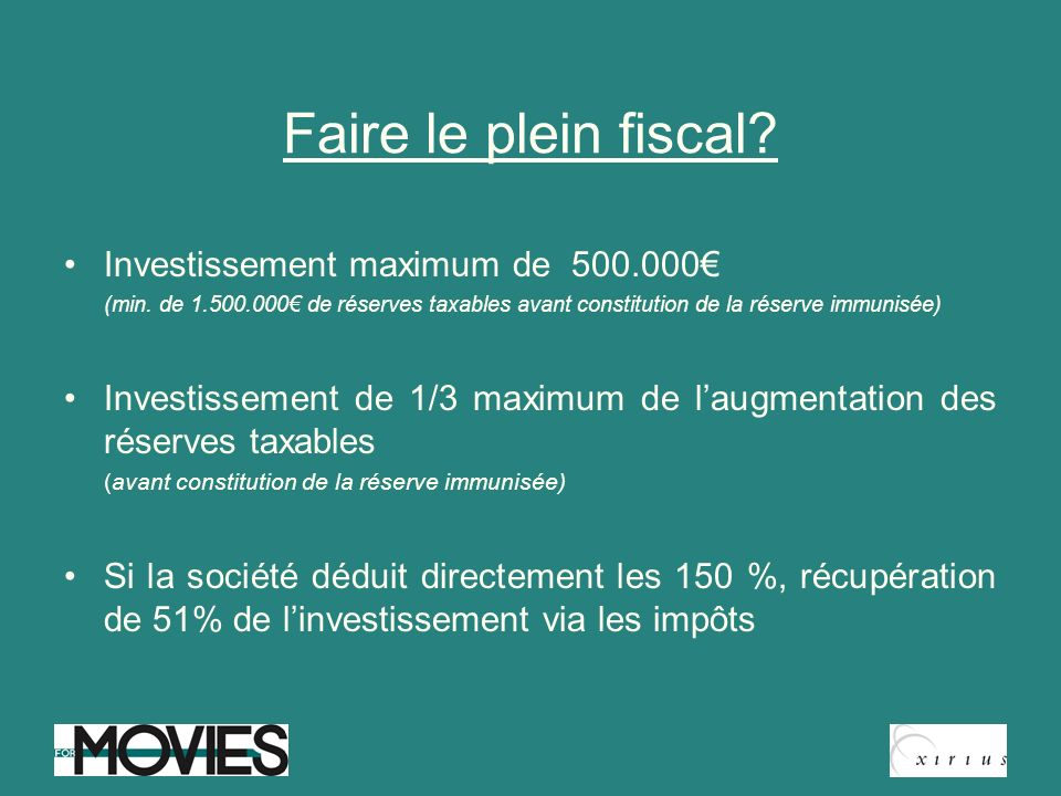 Faire le plein fiscal Investissement maximum de 500.000€