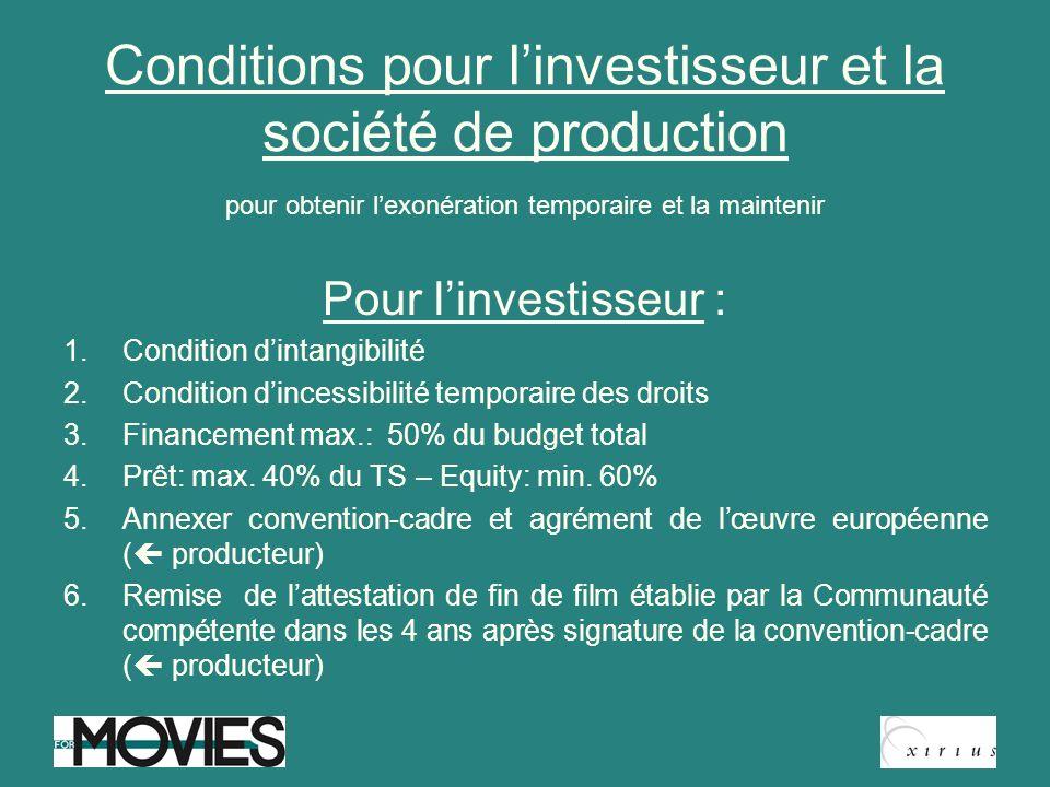 Conditions pour l'investisseur et la société de production