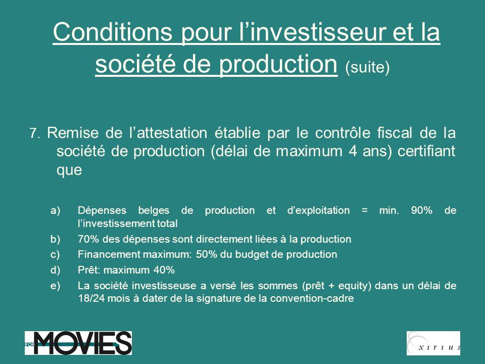Conditions pour l'investisseur et la société de production (suite)