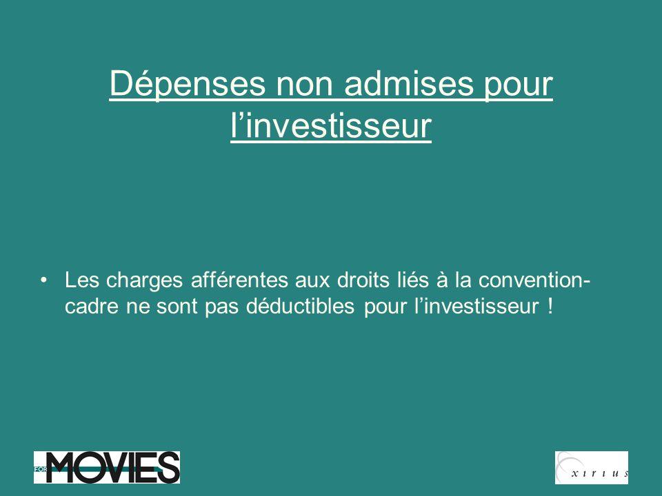 Dépenses non admises pour l'investisseur